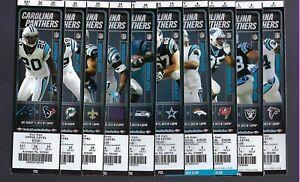2012 NFL CAROLINA PANTHERS FULL UNUSED FOOTBALL TICKETS - ENTIRE HOME SEASON