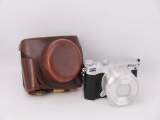 Coffee leather case bag for Nikon 1 J5 camera with 10-30mm or 11-27.5mm lens
