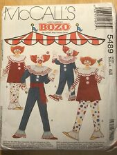 Vintage McCall's Sewing Pattern 5489 BOZO THE CLOWN Child Sz 6-8 Uncut & FF