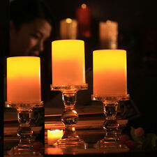 3x Flickering Flameless Resin Pillar LED Candle Lights w/Timer for Wedding Party