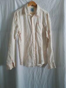 Scotch And Soda Mens white 100% linen Long Sleeve Shirt size XL