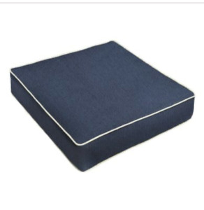 SUNBRELLA 2 NAVY CANVAS NATURAL CORDED CHAIR CUSHION REPLACEMENT COVERS 25 x 26