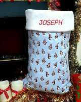Santa Sack Christmas Personalised Penguins on Blue Extra Large Large Med Small
