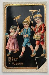BEST WISHES with 3 Children Embossed Postcard;J203
