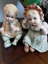 Vintage 2 Porcelain Bisque Seated Twin Boy Girl Piano Baby  Figurines Lefton