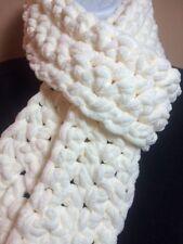 Hand Made Crocheted Scarf~4x70~Winter White 100% Acrylic Blanket Yarn! So Warm!