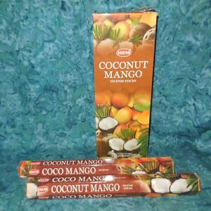 Coconut Mango NEW Sealed 40 Incense Stick HEM Brand Soothing tropical scent