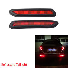 2 Pcs Universal Red Lens LED Auto Bumper Reflectors Taillight Fog Warning Light