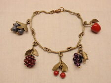 Michael Michaud Bracelet Fruit Charms Silver Seasons Semi-Precious Stones Bronze
