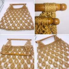 🌟True Vintage Macrame String Bag Wooden Handles 70's Retro Boho Blogger Stylist