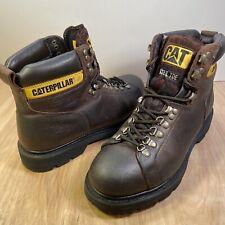 Men's CAT Work Boots ALASKA Steel Toe Brown Caterpillar Leather Size 10 USA