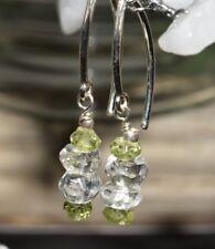 Peridot Clear Quartz Earrings Sterling Silver Crystal Healing August Birthstone