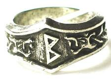BERKANAN Viking Dragon Head Rune Ring ,Birth, Fertility , Letter 'B'. Adjustable