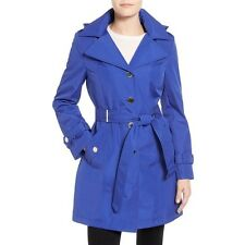 Calvin Klein Belted hooded Trench Coat single breasted Royal Blue MEDIUM NEW