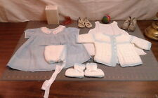 Baby Layette, Calico Smocked Dress, 2 Pairs Of Shoes And Ball, Cotton Slip Vtg