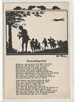 """Ansichtskarte Künstlerkarte - Schattenbilder - """"Rattenfängerlied"""" - schwarz/weiß"""