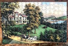 """Currier & Ives"" Wooden Jigsaw Puzzle: ""Country Plantation"" & mismatched box"