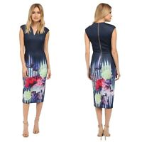 $295 NWT Ted Baker 0 Rimena Hydrangea Haze Floral Print Sheath Midi Dress, US 2
