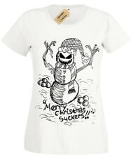 EVIL SNOWMAN Womens T-Shirt Christmas spooky skull gothic ladies burton present