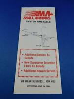 MA MALL AIRWAYS AIRLINE TIMETABLE 1984 SUPERSAVER EXCURSION FARES TO CANADA