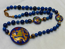VINTAGE CHINESE DRAGON CLOISONNE AND LAPIS BEADS NECKLACE, SILVER CLASP