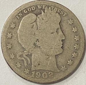 1902-S Barber Silver Quarter. S Mint. 1,524,612 Mintage. Good. Full Rim Obv