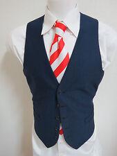 Sz L 42 Navy Blue Solid VINTAGE MENS Polyester #39C Suit Vest Waistcoat