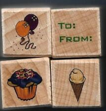 TO: FROM: BALLOONS CUPCAKE Ice Cream Cone word NEW MINI LOT wood RUBBER STAMPS