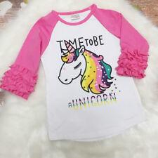 Toddler Baby Girls Kid Unicorn Top Blouse Ruffle T-shirts Pullover Sweatshirt
