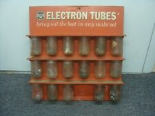 Vintage metal Rca Electron Tubes display sign parts rack 1959