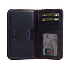 PDair Housse cuir portefeuille étui pour Samsung Galaxy S8 - Noir / Rouge