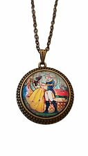 """Disney's Beauty And The Beast Logo Glass Dome PENDANT Necklace on 22"""" Chain"""