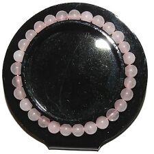 "BR281jb Pink Malay Jade 28-Bead 6mm Round Gemstone Elastic Stretch Bracelet 6.5"""