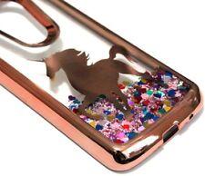 For Motorola Moto E5 Play /E5 Cruise ROSE GOLD UNICORN Liquid Glitter Heart Case