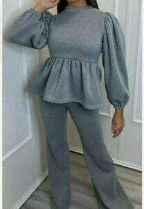 Ladies Peplum Puff Sleeve Co-ord Wide Leg Lounge Wear Set