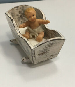 """1/12 Scale Miniature Shabby Chic Distressed Doll Furniture BABY CRADLE 3"""" w/Baby"""