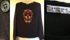EQUIPMENT 100% SILK Liam Skull Floral Print Blouse LS Shirt XS NEW NWT $259 RARE