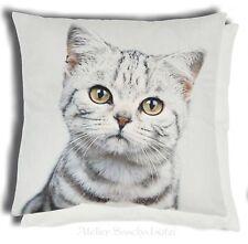 Clayre & Eef Kissen Kissenhülle Katze getigert grau weiß 45cm x 45cm Neu