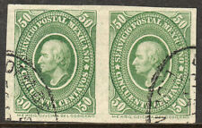 MEXICO 160a, 50¢ IMPERFORATED HORIZONTAL PAIR. USED. VF (224)