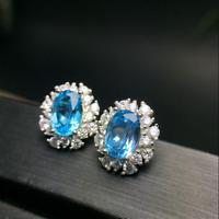 4.20Ct Oval Cut Blue Topaz Diamond Push Halo Stud Earrings 14K White Gold Finish