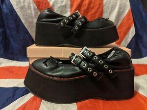 BN*Vegan Koi Mary Jane Platform Shoes*Flatform Black Red*Goth Punk Kawaii Lolita