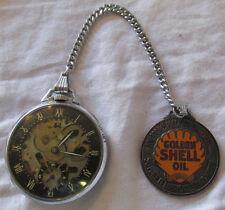 1930s-40s GIRARD PERREGAUX SHELL SKELETON Oil Gas POCKET WATCH w FOB Runs RARE