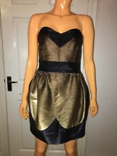 Philip Armstrong Couture Black And Gold Strapless Cocktail Party Dress Size Uk8