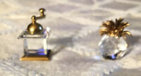 Retired Swarovski Crystal Memories Coffee Grinder & Pineapple Figurines Austria