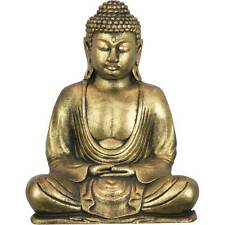 Peaceful Meditating Sitting Shakyamuni Golden Buddha Garden Zen Statue Sculpture