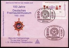 BRD FDC MiNr  2247 (PMR Nr 193Dc) 100 Jahre Deutsches Freimaurermuseum -Museum-