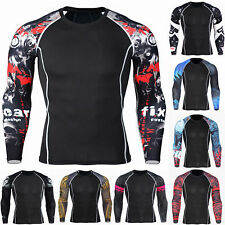 Mens Compression Long Sleeve T Shirt Top Joggers Pants Base Layer Gym Sports Tee