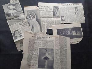Newspaper Clippings Regarding Ballet Late 1940s