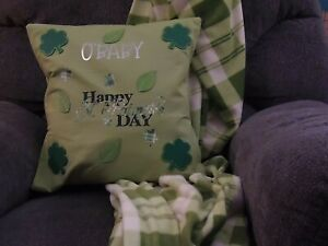 St Patrick's Day Pillow cover and Coordinating Throw Blanket