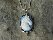 BEAUTIFUL HORSE CAMEO NECKLACE (WHITE ON BLUE) - .925 SILVER PLATE - HORSE LOVER
